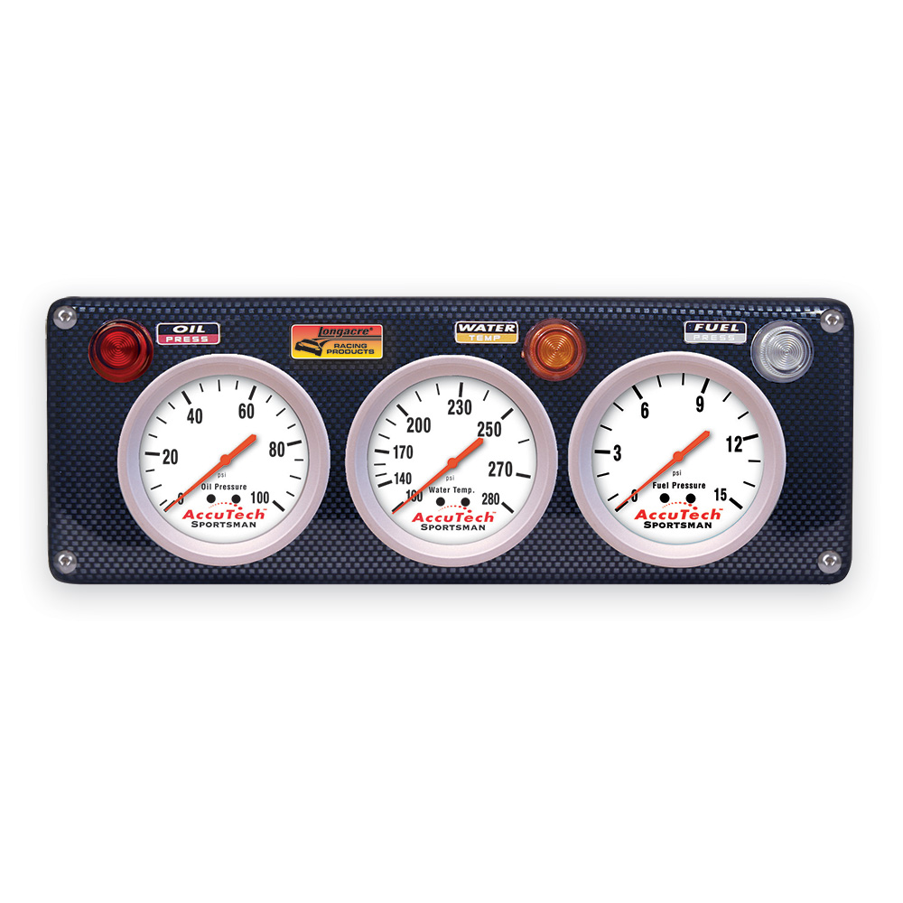 3 Gauge Molded CF Panel w. Sportsman™ Gauges - OP,WT,FP