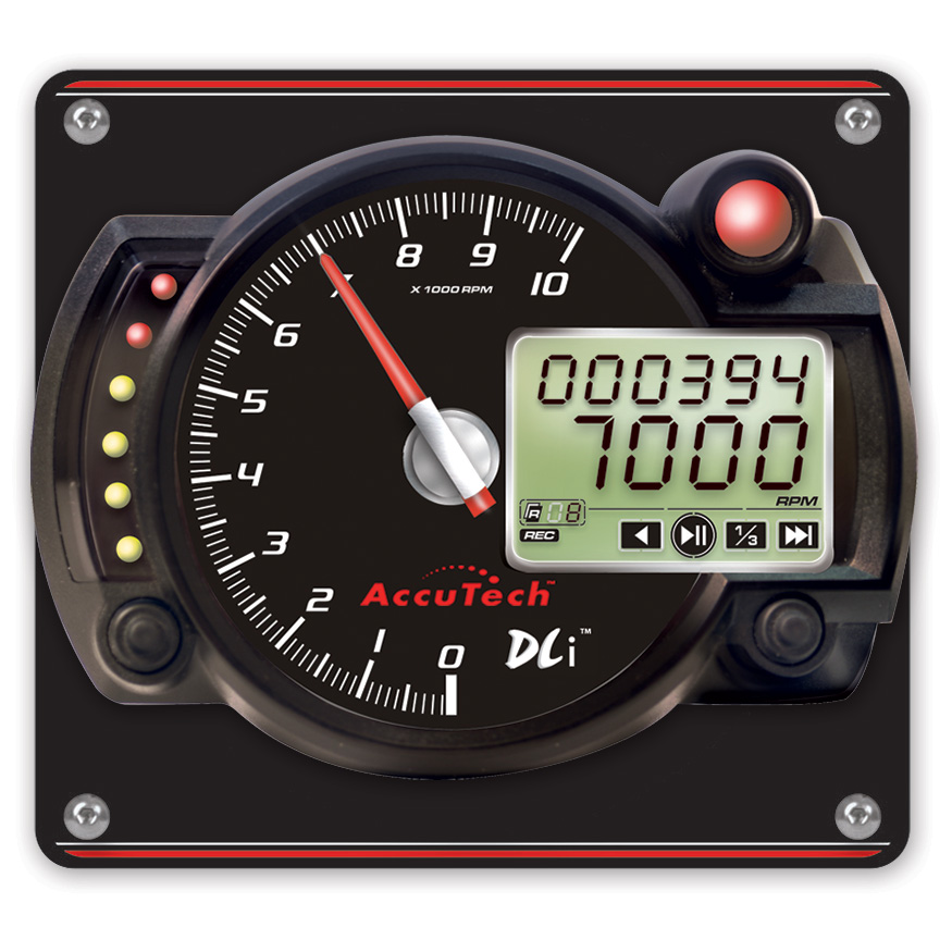 AccuTech™ DLi™ 'Stepper Motor' Data Logging Tach in Aluminum Panel