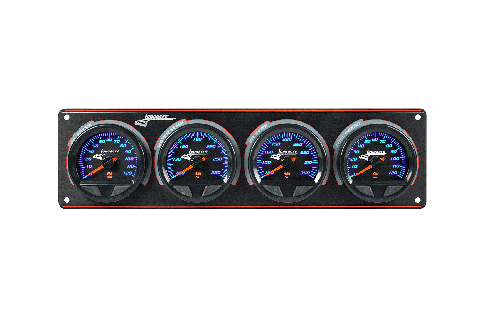 SMi™ Elite Waterproof Gauge Panel, 4 Gauge Oil Pressure/Water Temperature/Oil Temperature/Fuel Pressure 120psi