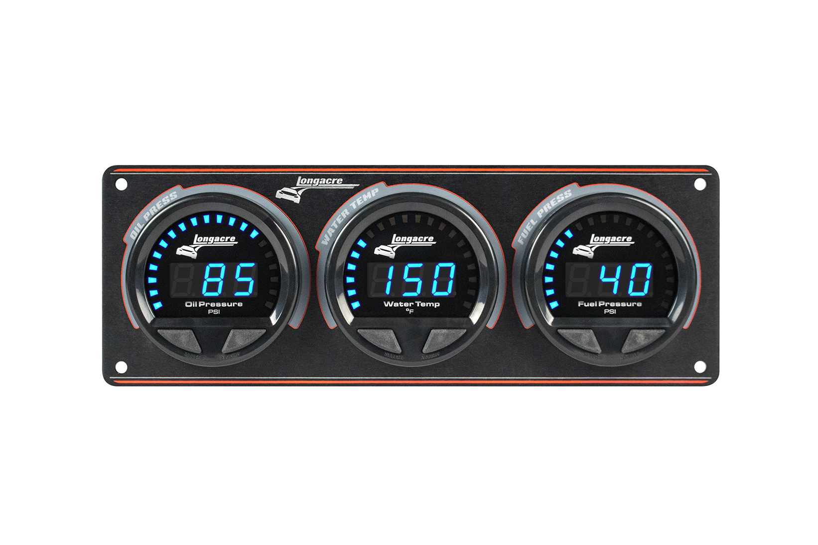 Digital Elite Waterproof Gauge Panel, 3 Gauge Oil Pressure/Water Temperature/Fuel Pressure 120psi