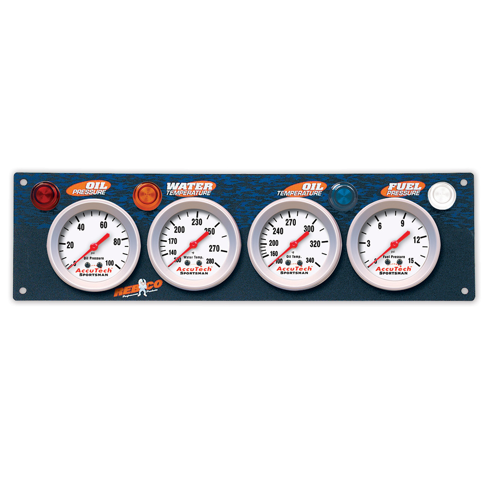 4 Gauge AccuTech™ Sportsman™ Gauge Panel - OP,WT,OT,FP