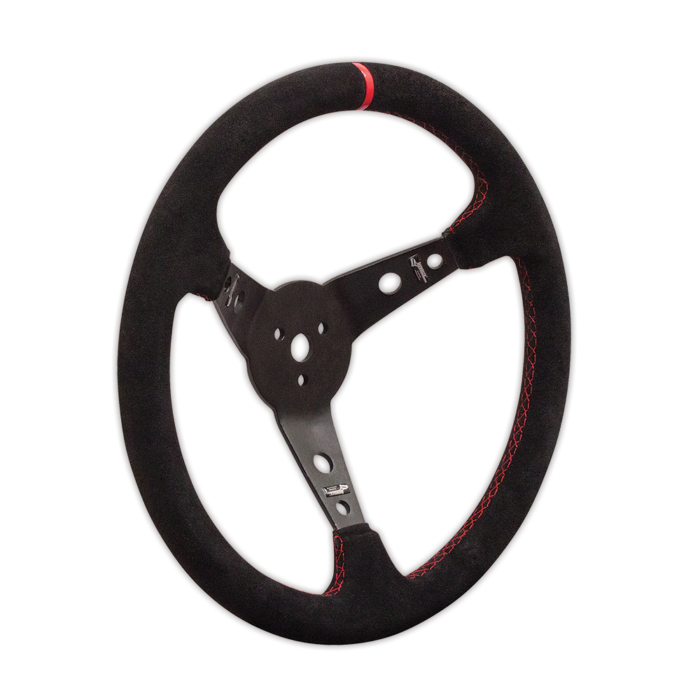"Suede Dished Steering Wheel - 15"" Black"