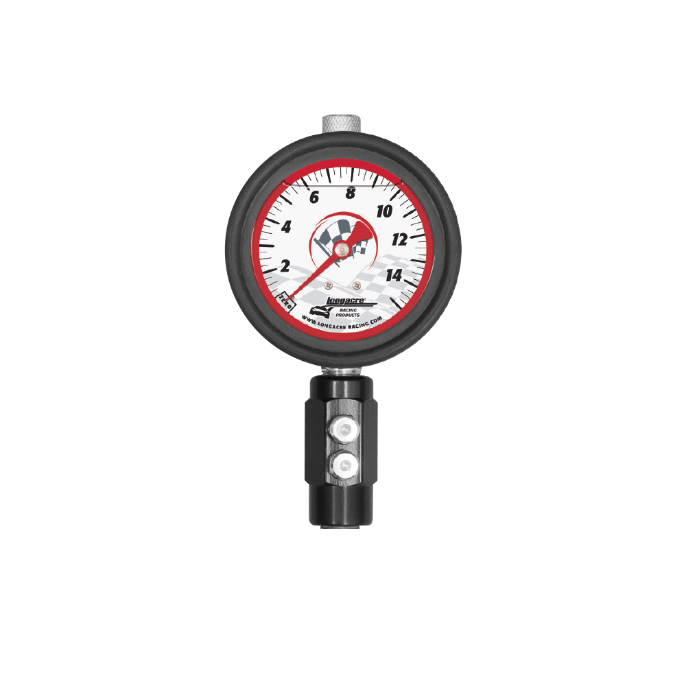 "Liquid Filled 2½"" GID Tire Gauge 0-15 by ¼ lb Dual Bleed"