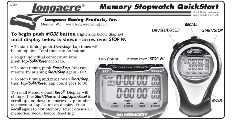 Longacre Memory Stopwatch Quick Start Instructions