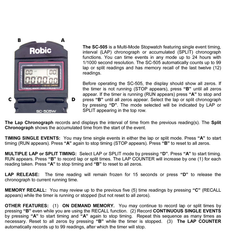 Robic SC505W Instructions