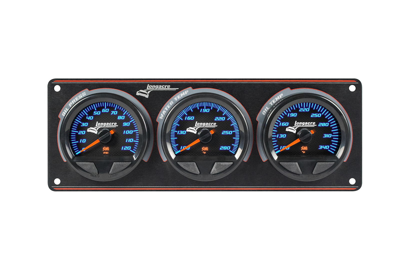 SMi™ Elite Waterproof Gauge Panel, 3 Gauge Oil Pressure/Water Temperature/Oil Temperature