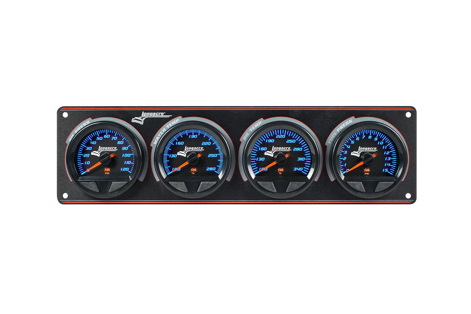 SMi™ Elite Waterproof Gauge Panel, 4 Gauge Oil Pressure/Water Temperature/Oil Temperature/Fuel Pressure 15psi