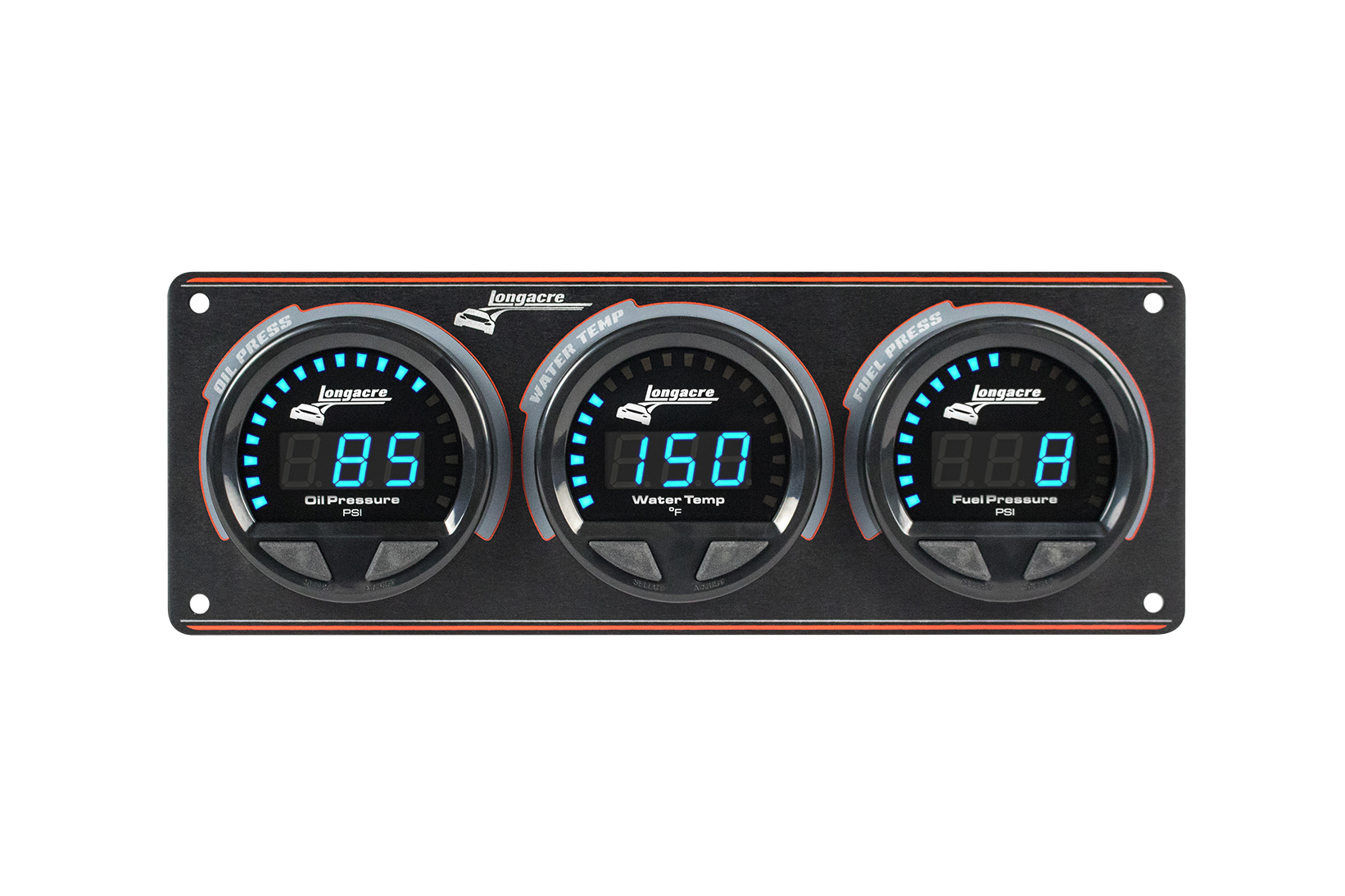 Digital Elite Waterproof Gauge Panel, 3 Gauge Oil Pressure/Water Temperature/Fuel Pressure 15psi