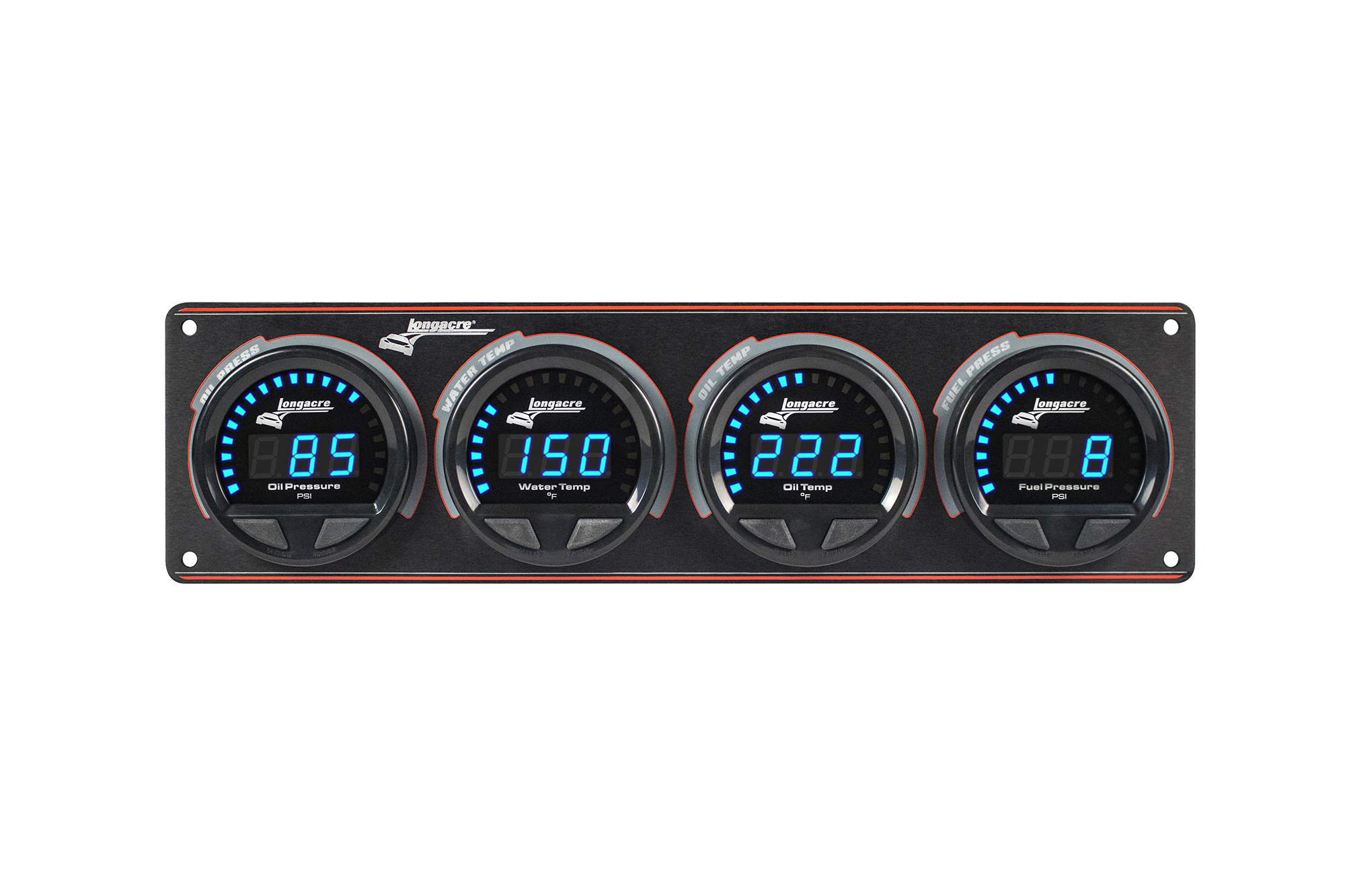 Digital Elite Waterproof Gauge Panel, 4 Gauge Oil Pressure/Water Temperature/Oil Temperature/Fuel Pressure 15psi