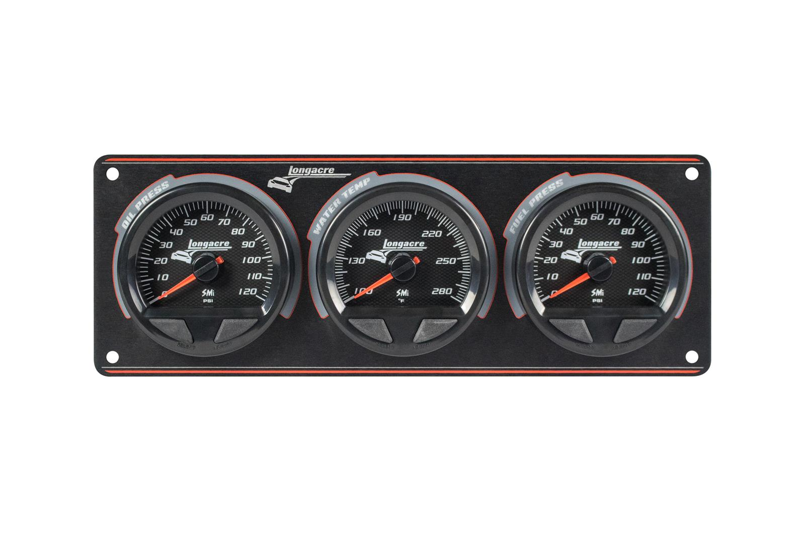 SMi™ Elite Waterproof Gauge Panel, 3 Gauge Oil Pressure/Water Temperature/Fuel Pressure 120psi