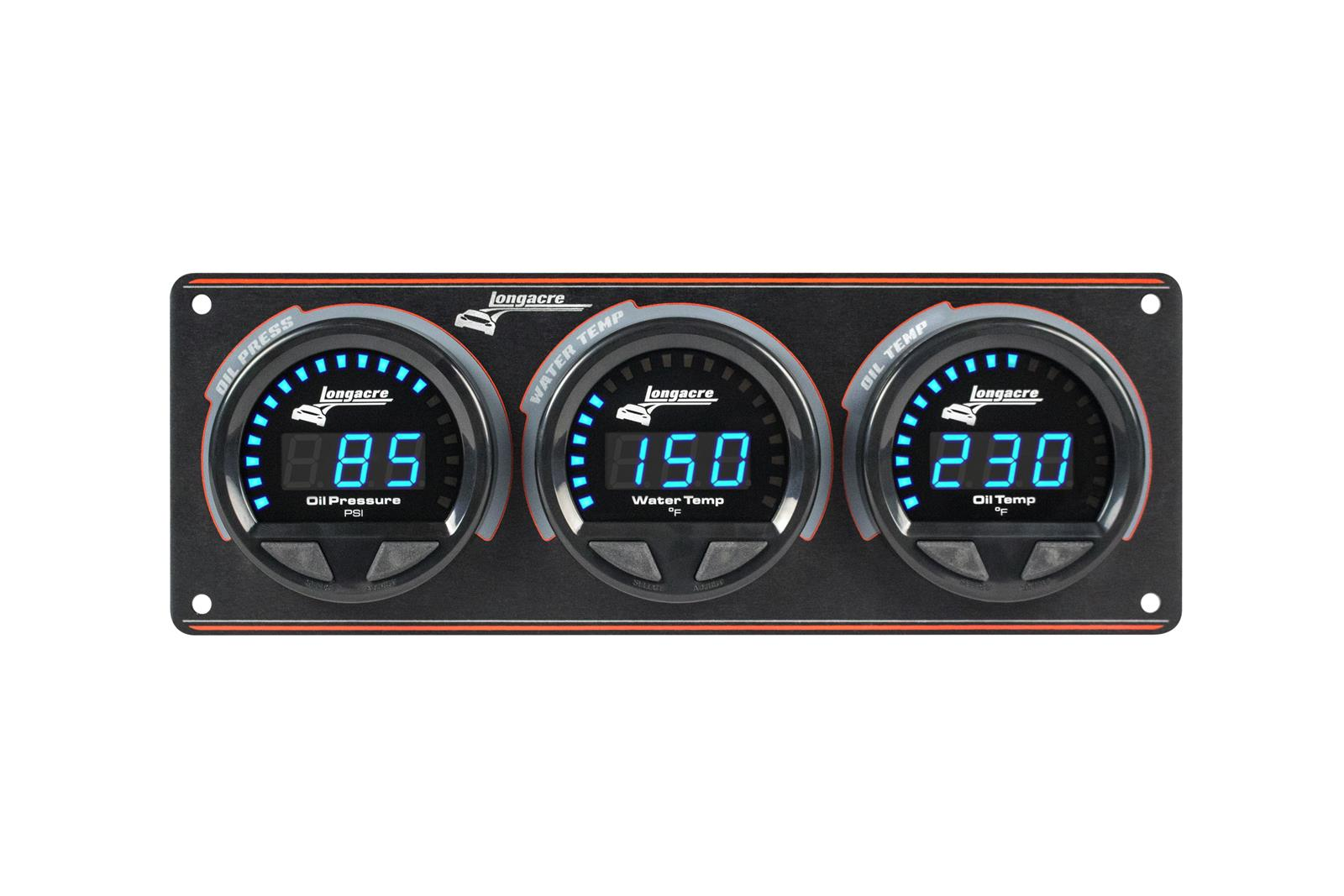 Digital Elite Waterproof Gauge Panel, 3 Gauge Oil Pressure/Water Temperature/Oil Temperature 340°